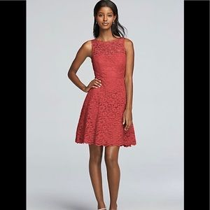 David's Bridal Coral All Over Lace Dress Size 12